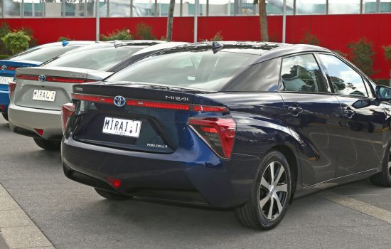 Toyota is bringing three Mirai Hydrogen Fuell Cell Vehicles to Australia this year along with a portable hydrogen refueller - image courtesy of Toyota Australia