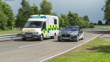 Connected & Autonomous Vehicle (CAV) technologies - Emergency Vehicle Warning allows connected ambulances, police cars or fire engines to communicate with other vehicles on the road - image courtesy of JLR.