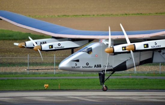 The Solar Impulse 2 aircraft completed its round-the-world trip this week. Image courtesy of Wikipedia/Milko Vuille.