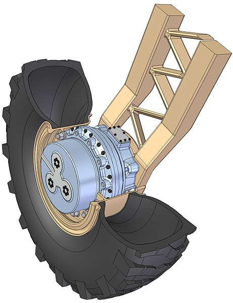 Hub-drive raises the possibility of radically enhanced mobility and survivability - image courtesy of QinetiQ.