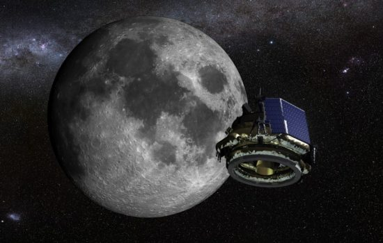 A computer rendering of the MX-1 probe on the way to the Moon. Image courtesy of Moon Express.