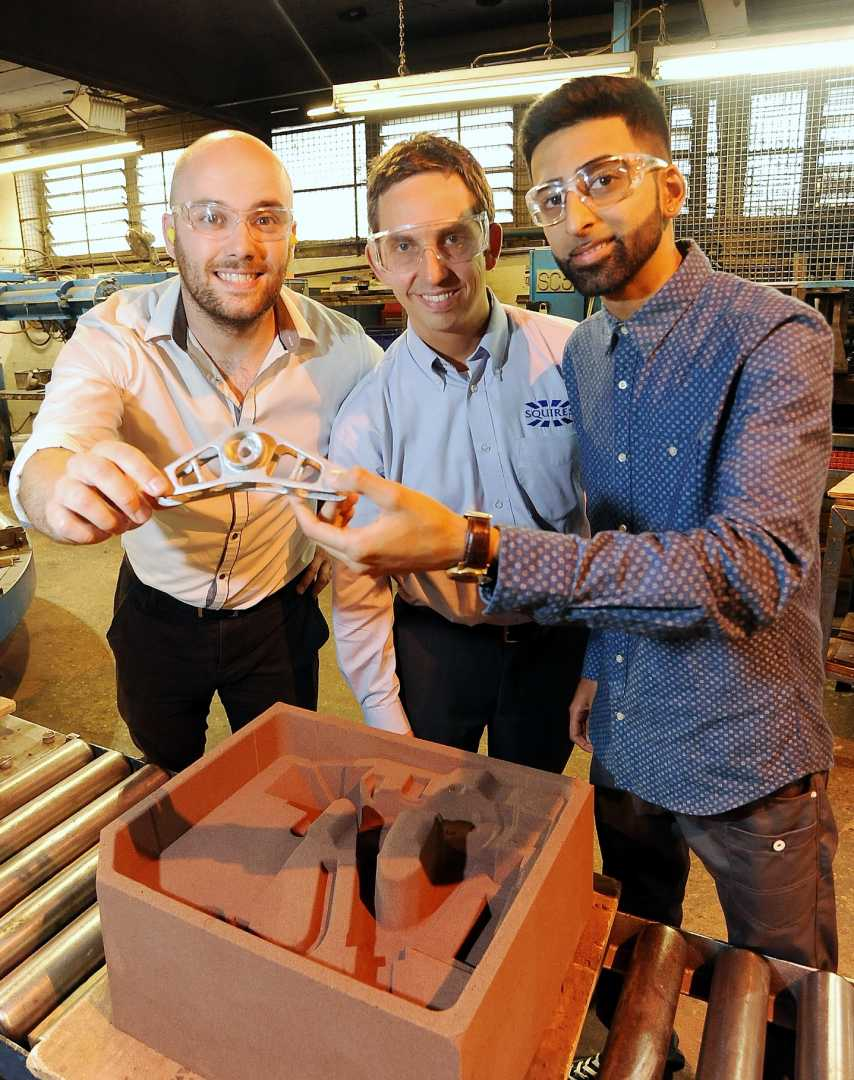 L to R: David Hayden (Sarginsons Industries), Tim Squires (Squires Gear & Engineering - who helped with post-manufacture work) and Saif Arif.