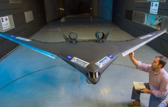The Boeing Blended Wing Body (BWB) in a Nasa wind tunnel. Image courtesy of Nasa.