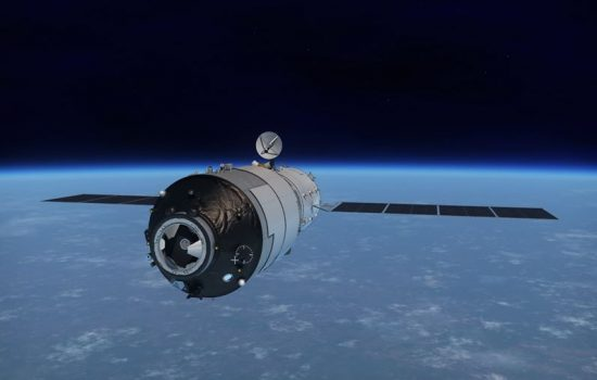 A CGI rendering of Tiangong-1. Image courtesy of China Aerospace Science and Technology Corporation.