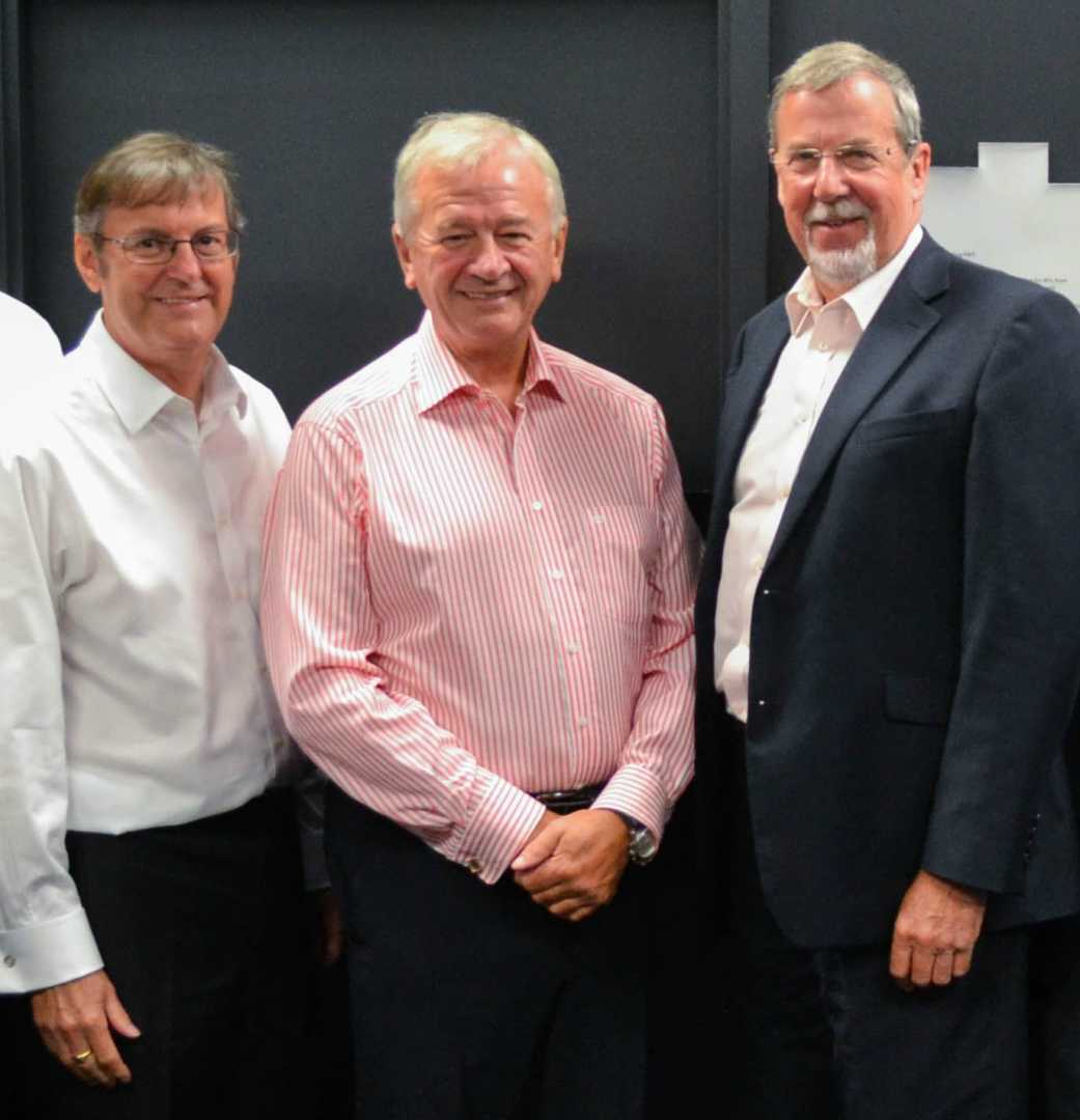 L to R: Clive Hickman, Sir Terry Morgan and Alex Stephenson – image courtesy of the MTC.