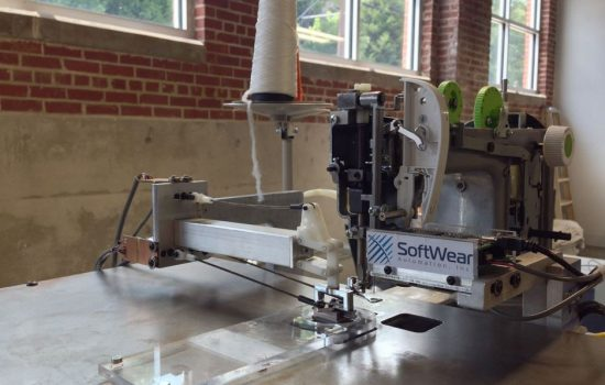 A SoftWear Automation robotic sewing system. Image courtesy of SoftWear Automation.