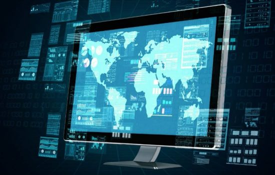 Computer Screen Data Digital Global Computer Simulations Stock Image