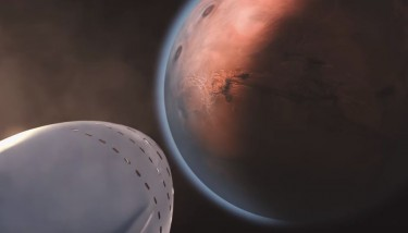 A computer rendering of the ITS arriving at Mars. Image courtesy of SpaceX.