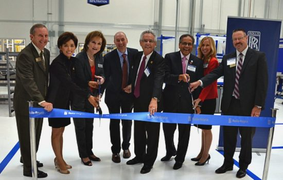 The ribbon was cut during a dedication ceremony with federal, state and local officials, customers and employees - image courtesy of Rolls Royce.