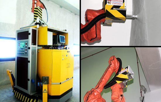 PictoBot uses an extendable arm to paint high surfaces. Image courtesy of NTU