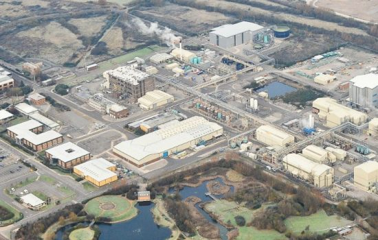 Aerial photograph of the manufacturing site at Avlon, Abonmouth – image courtesy of AstraZeneca.