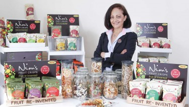 In 2012, Nimisha Raja pioneered the concept of air-dried fruit crisps, launching the first product to the UK market with her innovative brand – image courtesy of Nim's Fruit Crisps.