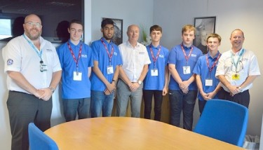 L – Steve Grundy, head of production; C – Tony Bermingham, managing director; R – Tony Smith, health & safety manager, with the five new apprentices (all EDM) - apprenticeship scheme