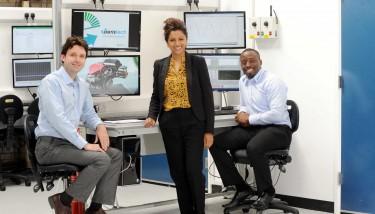 CWLEP Growth Hub's Jaymie Thakordas (centre) with Bryn Richards & Asuquo Andah (both Aeristech).