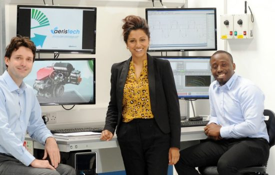 CWLEP Growth Hub's Jaymie Thakordas (centre) with Bryn Richards & Asuquo Andah (both Aeristech).