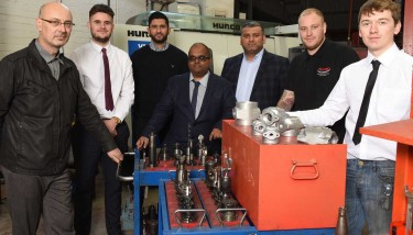 L to R: Darren Till (foundry manager); Callum Johnston (apprentice); Jag Suman (operations manager); Diptesh Patel (technical manager); Ash Suman (managing director); Shane Maydew (technician), and Ashley Moran (apprentice) - all Midland Pressure Diecasting.