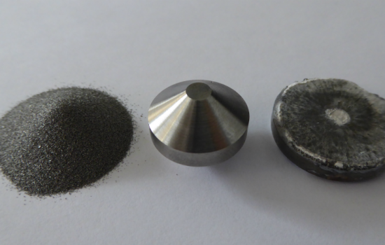 L to R: Titanium powder obtained from rutile sand, Field Assist Sintered double cone preform, then pancake forging - image courtesy of FastForge.