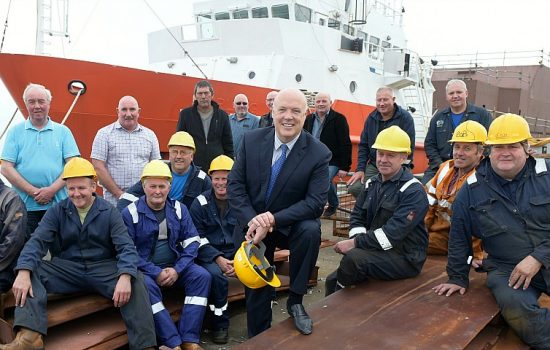 Jim McColl and some of the team at Ferguson Marine Engineering Ltd.