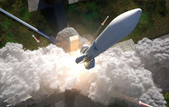 An artist's impression of the launch of an Ariane 6 rocket. Image courtesy of Airbus Safran Launchers.