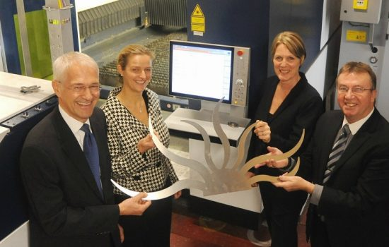 L to R: Jonathan Browning (chairman, Coventry and Warwickshire Local Enterprise Partnership); Annette Doyle (MD, Trumpf UK); Louise Bennett, (chief executive, Coventry & Warwickshire Chamber of Commerce), and Tom Mongan (GM, Subcon Laser Cutting).