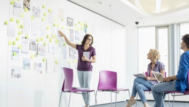Leadership SKills Innovation Ideas Planning Design Foundations Meeting - Stock Image