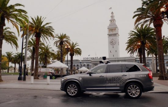 An Uber self driving car in San Francisco, California. Image courtesy of Uber Technologies.
