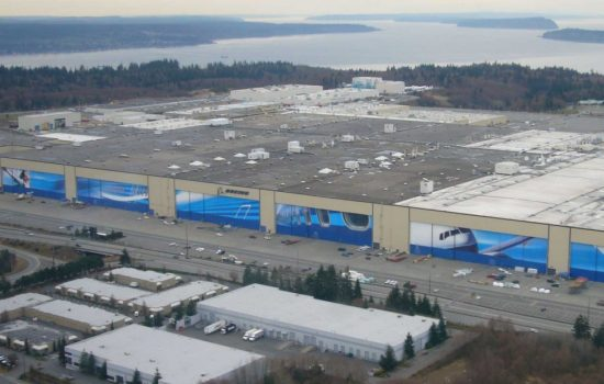 The Boeing Everett plant (pictured) will reduce 777 production. Image courtesy of Wikipedia.