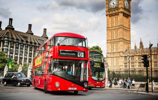 The New Routemaster bus, manufactured by Wrightbus, in front of Big Ben in London - image courtesy of Wrightbus