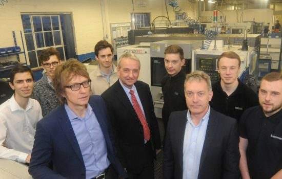 L - R Front Row: Jason Aldridge, Robert Trigg (both Precision Laser Processing), and Shaun Rowley (ANT Industries), alongside apprentices and interns – image courtesy of CWAF.