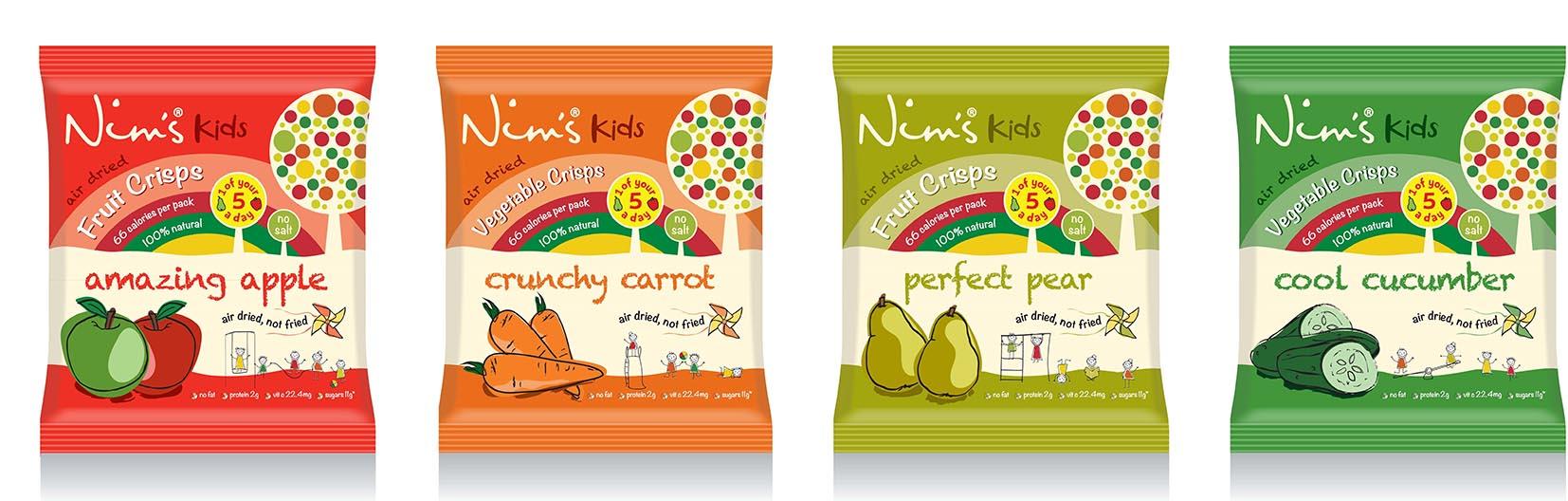 Nim's Fruit & Veg Crisps Kids concept range - image courtesy of Nim's Fruit Crisps.