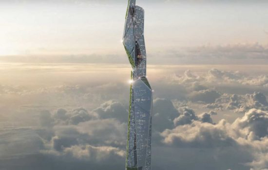 An artist's impression of a futuristic smog-eating skyscraper. Image courtesy of Arconic.