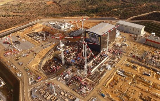 An aerial view of the under construction ITER site. Image courtesy of ITER.