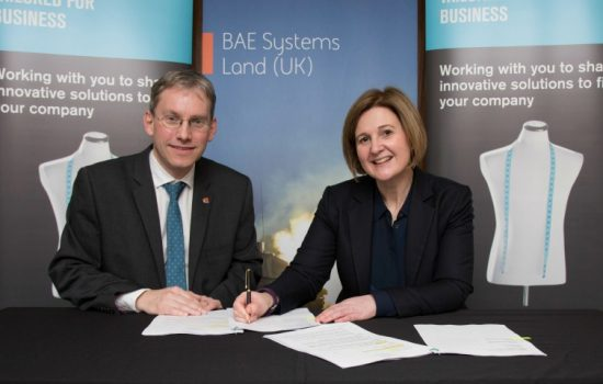 RESIZE - Professor Andy Schofield, University of Birmingham, and Jennifer Osbaldestin, BAE Systems managing director, Land.