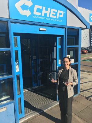 Nicola Edmonds. Strategic Retail Account Manager at CHEP with the Premier Foods Awards - image courtesy of CHEP and Premier Foods