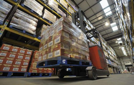 A forklift operating at a Premier Foods Warehouse - image courtesy of Premier Foods