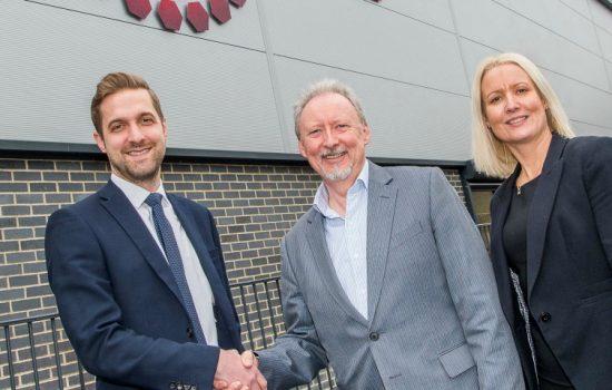 L-R: Mike Edwards (Yorkshire Bank), Geoff Windas (MTE Heat Treatment), and Sarah Gwynne (Yorkshire Bank).