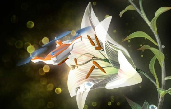 An artists impression of the drone bee at work pollinating a flower. Image courtesy of AIST - Eijiro Miyako.