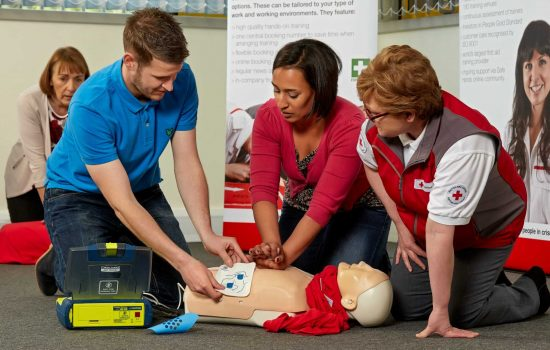 First Aid Training - 30,000 people sustain a cardiac arrest outside hospital each year and quick use of an AED can lead to survivals rates of 50 to 75 per cent – image courtesy of the British Red Cross.