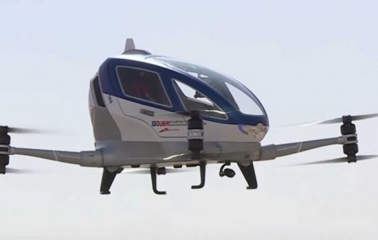 The Ehang-184 will reportedly begin operation as a drone taxi in Dubai in July. Image courtesy of Dubai Roads and Transport Authority.