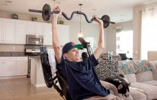 Kris Boesen works out his upper body after being part of a new stem cell trial. Image courtesy of Greg Iger