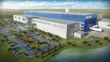 Artist's impression of the Blue Origin rocket factory which is currently being built in Florida – image courtesy of Enterprise Florida.