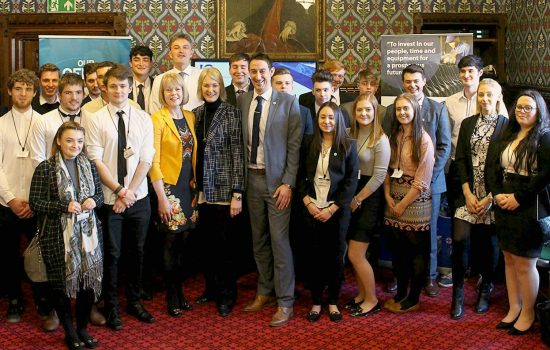 Vocational Learning - The 25-strong apprentice delegation inside Parliament - image courtesy of In-Comm Training.