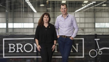 Founder & CEO of The Cambridge Satchel Company, Julie Deane, and CEO of Brompton, Will Butler-Adams, have been heavily involved in the collaboration's success – image courtesy of Brompton Bicycle.