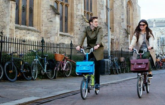All the satchels integrate with Brompton's front carrier system – image courtesy of Brompton Bicycle.