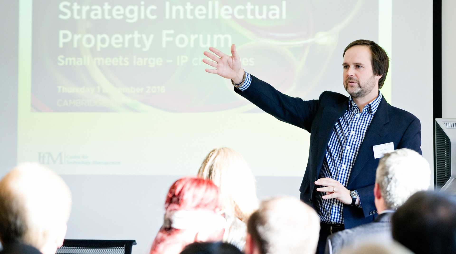 Dr Frank Tietze at the recent Strategic IP Forum in Cambridge - image courtesy of the University of Cambridge's Institute for Manufacturing.