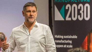 Professor Steve Evans speaking at the launch of Manufacture 2030, where he chaired a thought-leadership panel discussion – image courtesy of 2degrees