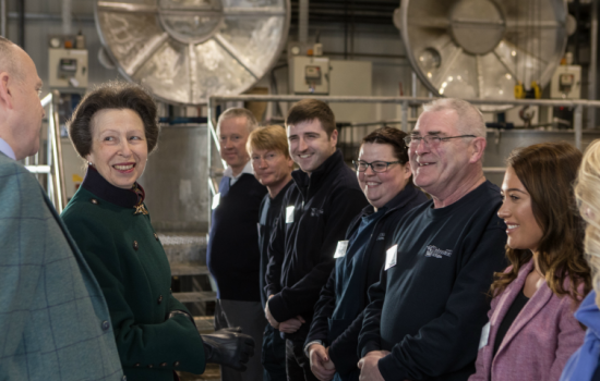UK Textile Manufacturers - Her Royal Highness The Princess Royal met workers at Johnstons of Elgin – image courtesy of UKFT (Angus Bremner).