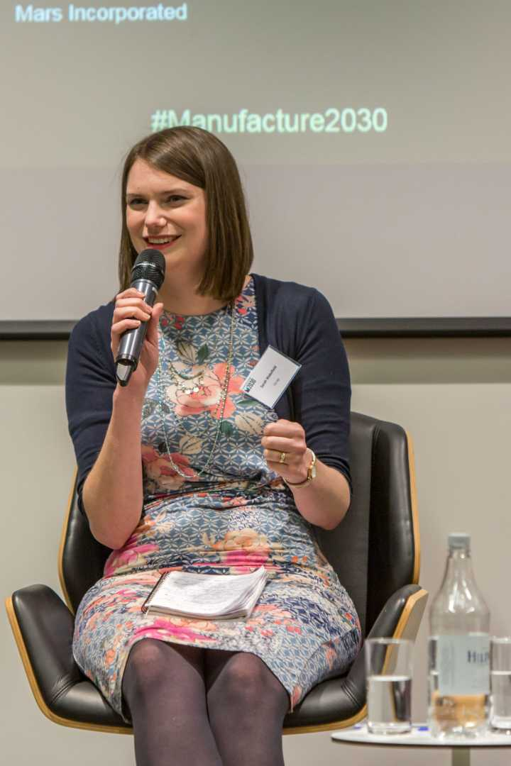 Co-op's Sarah Wakefield taking part in the panel discussion at the launch of Manufacture 2030 on 15 March at The Shard, London – image courtesy of 2degrees.
