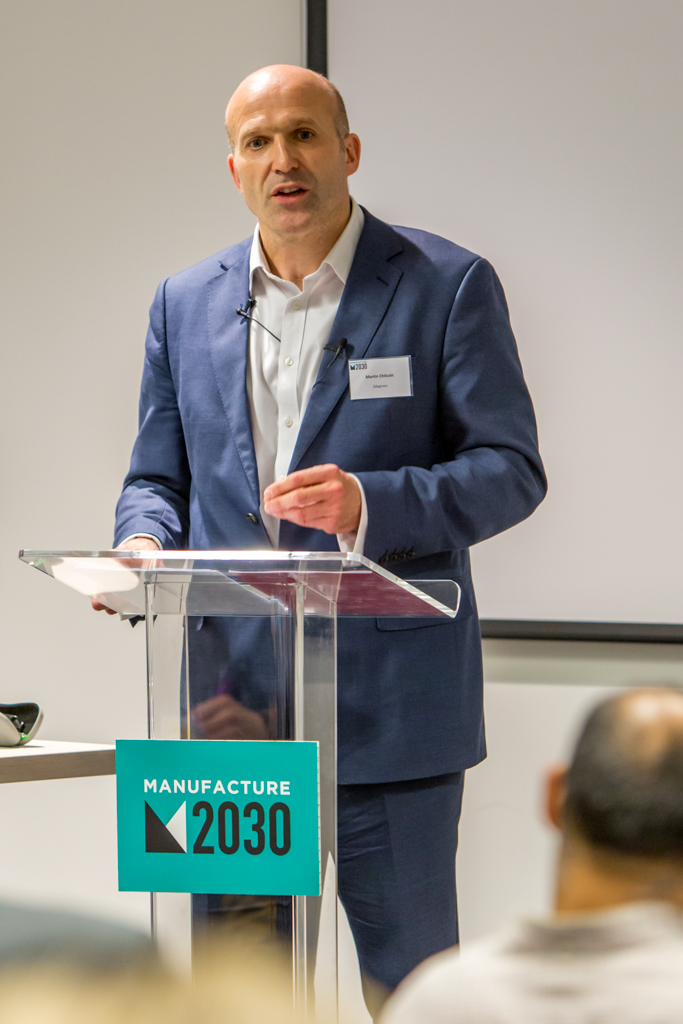 Martin Chilcott speaking at the launch of Manufacture 2030 on 15 March at The Shard, London – image courtesy of 2degrees