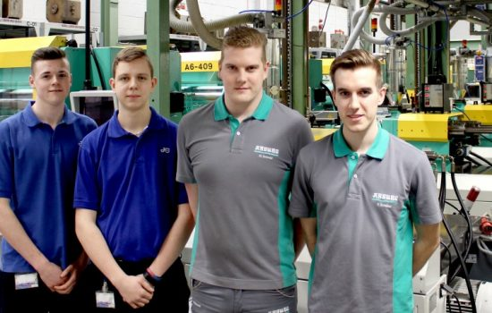 Apprenticeship exchange pilot - L to R: Luke Perry & Alex Jones (both John Guest), and Martin Schmid & Felix Schübel (both Arburg).